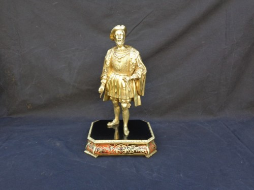 Decorative Objects  - Bronze François 1er with Pedestal in Boulle marquetry 19th Napoleon III per