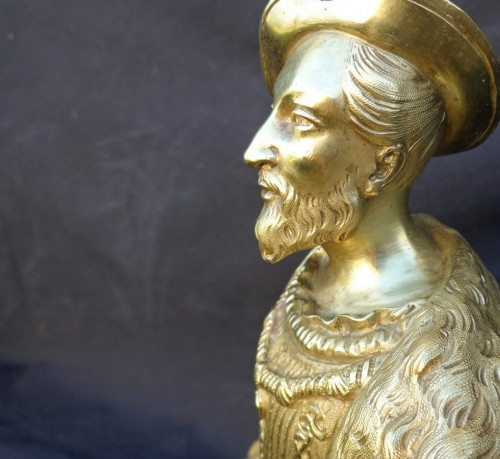 Antiquités - Bronze François 1er with Pedestal in Boulle marquetry 19th Napoleon III per