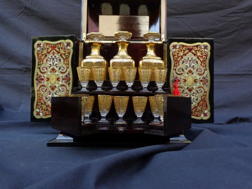 Tahan - Tantalus Box in Boulle marquetry Napoleon III period 19th -