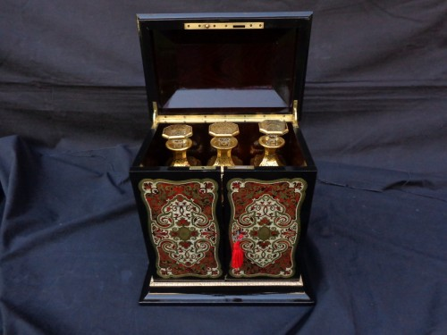 19th century -  Tahan - Tantalus Box in Boulle marquetry Napoleon III period 19th