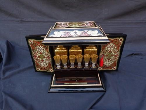 Tahan - Tantalus Box in Boulle marquetry Napoleon III period 19th - Napoléon III