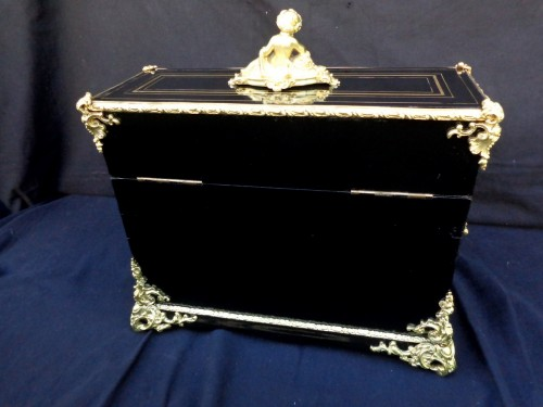 Antiquités - Tantalus Box with Uranium glass in Boulle marquetry Napoleon III period 19t