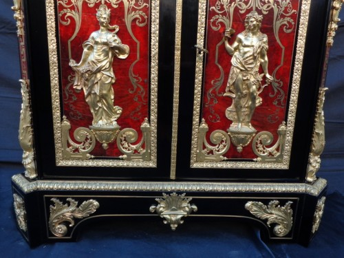 """Furniture  in Boulle marquetry late 19th century signed signé """"Béfort Jeune"""" - Napoléon III"""