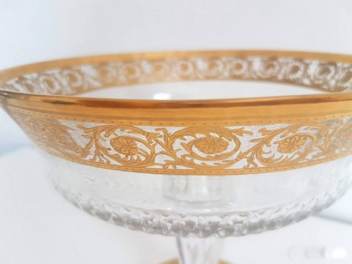 20th century - Table Center Footed Bowlin crystal St - Louis Thistle gold