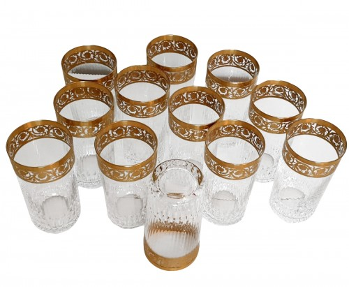 12 Highballs 14 cm in crystal St-Louis - Thistle gold