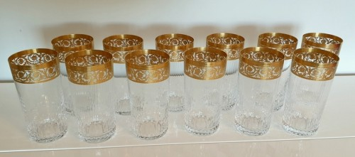 12 Highballs 14 cm in crystal St-Louis - Thistle gold - Glass & Crystal Style Art nouveau