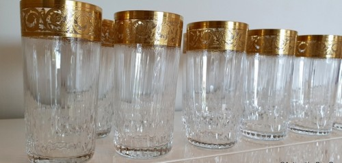 12 Highballs 14 cm in crystal St-Louis - Thistle gold -