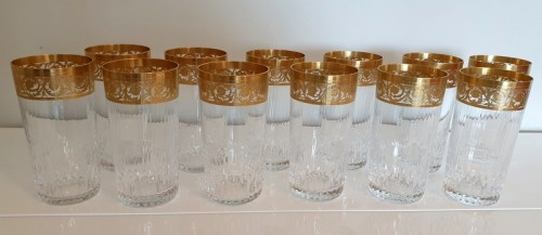 20th century - 12 Highballs 14 cm in crystal St-Louis - Thistle gold
