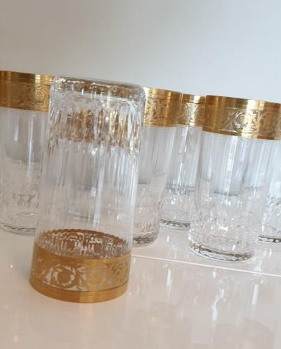 Art nouveau - 12 Highballs 14 cm in crystal St-Louis - Thistle gold