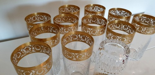 Antiquités - 12 Highballs 14 cm in crystal St-Louis - Thistle gold