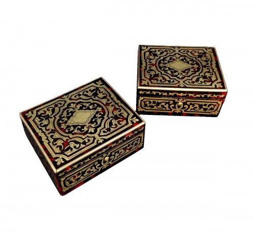 Pair of Boxes in Boulle marquetry 19th Napoleon III period