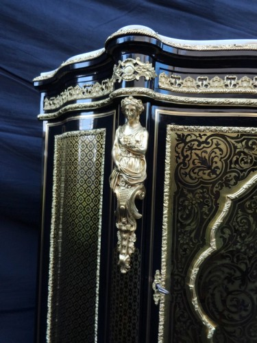 19th century - Cabinet in Boulle marquetry 19th opening on 1 door Napoleon III period
