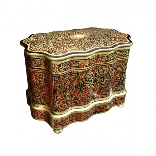 Bohême crystal Tantalus Box in Boulle marquetry late 19th century