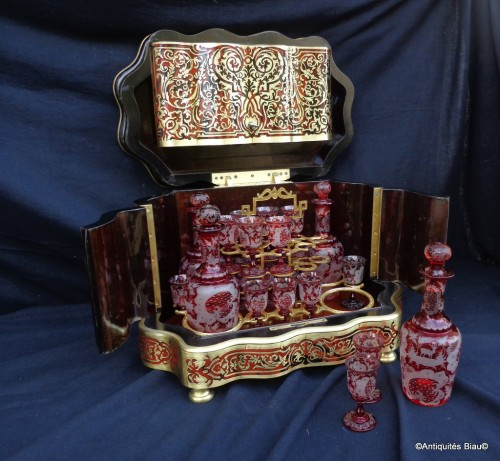 Decorative Objects  - Bohême crystal Tantalus Box in Boulle marquetry late 19th century