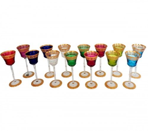 12 Glasses Roemer in crystal Saint-Louis - Thistle gold