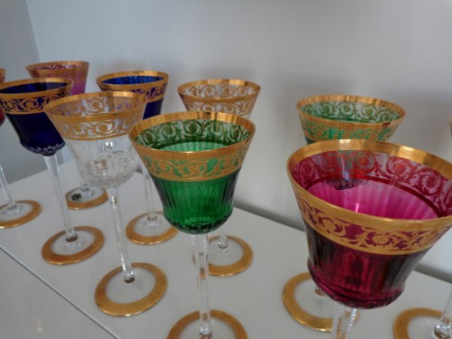 Antiquités - 12 Glasses Roemer in crystal Saint-Louis - Thistle gold