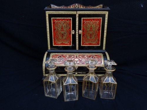 Antiquités - Tantalus Box in Boulle marquetry Napoleon III period 19th