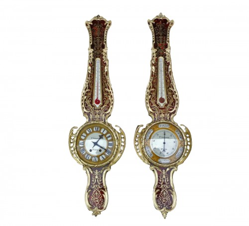 Pair of Boulle Marquetry Clock and Barometer Napoléon III period