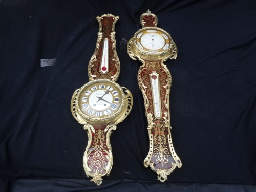 19th century - Pair of Boulle Marquetry Clock and Barometer Napoléon III period
