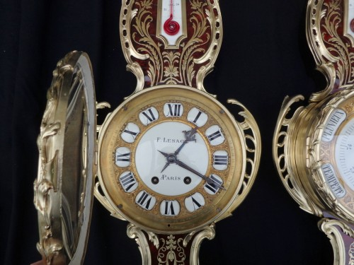 Napoléon III - Pair of Boulle Marquetry Clock and Barometer Napoléon III period