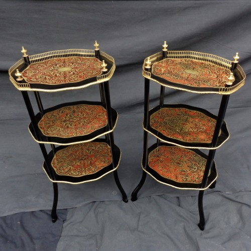 Pair of little table in Boulle marquetry Napoléon III period - Furniture Style Napoléon III