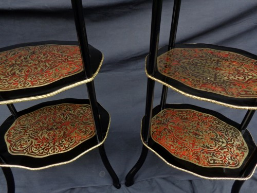 Furniture  -  Pair of little table in Boulle marquetry Napoléon III period