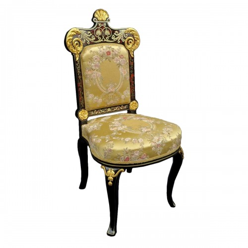 19th Napoléon III Chair in Boulle style marquetry signed