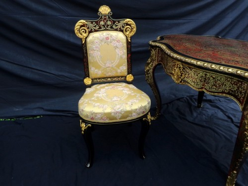 19th Napoléon III Chair in Boulle style marquetry signed - Seating Style Napoléon III