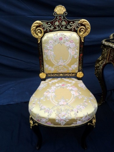 19th Napoléon III Chair in Boulle style marquetry signed -