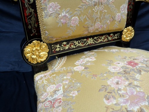 Napoléon III - 19th Napoléon III Chair in Boulle style marquetry signed