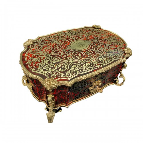 stamped  BERTHET Jewelry Box in Boulle marquetry Napoleon III period 19th