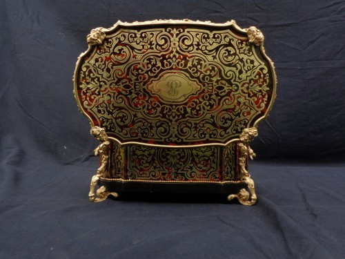 stamped  BERTHET Jewelry Box in Boulle marquetry Napoleon III period 19th -