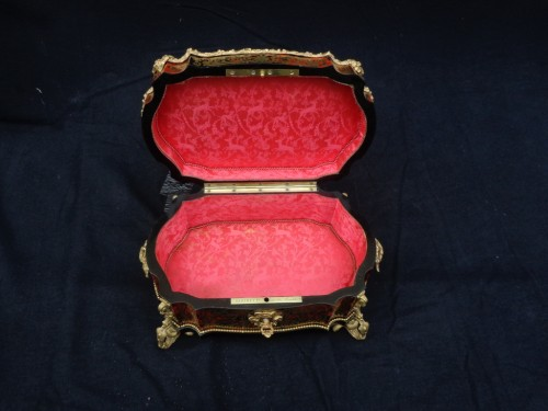stamped  BERTHET Jewelry Box in Boulle marquetry Napoleon III period 19th - Napoléon III