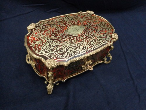 Antiquités - stamped  BERTHET Jewelry Box in Boulle marquetry Napoleon III period 19th