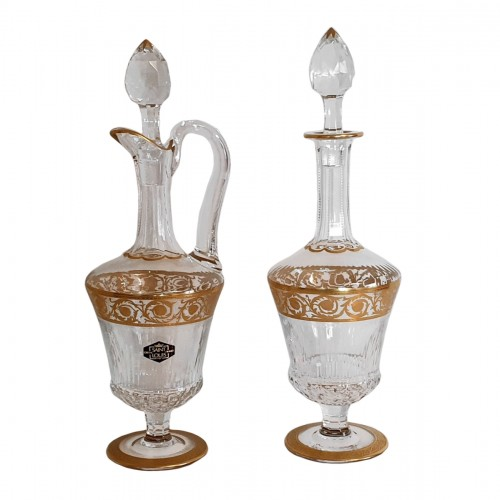 Pair of Decanters in crystal Saint - Louis Thistle gold