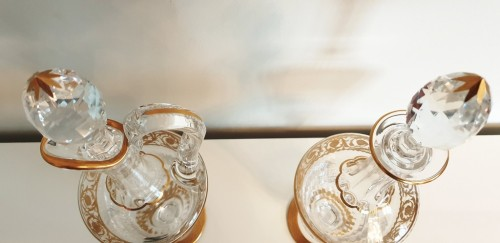 20th century - Pair of Decanters in crystal Saint - Louis Thistle gold