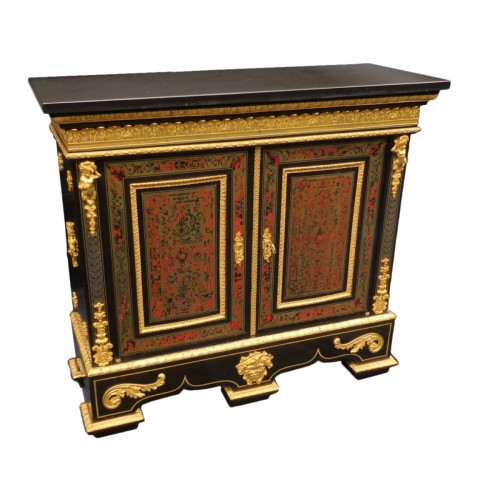 Cabinet multi colors in Boulle marquetry 19th Napoléon III