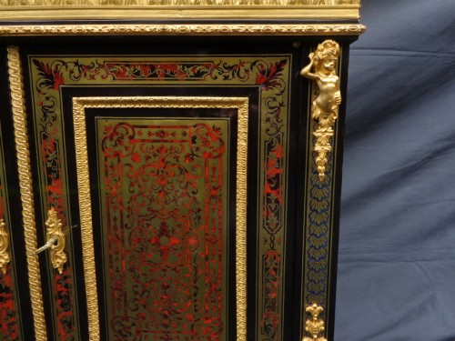 Antiquités -  Cabinet multi colors in Boulle marquetry 19th Napoléon III