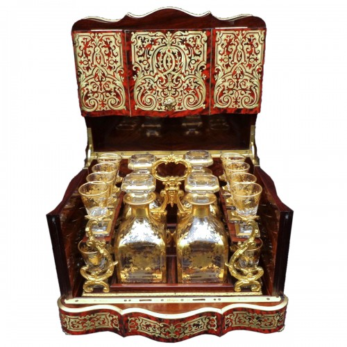 Tantalus Box stamped Th Année in Boulle marquetry Napoleon III period 19th