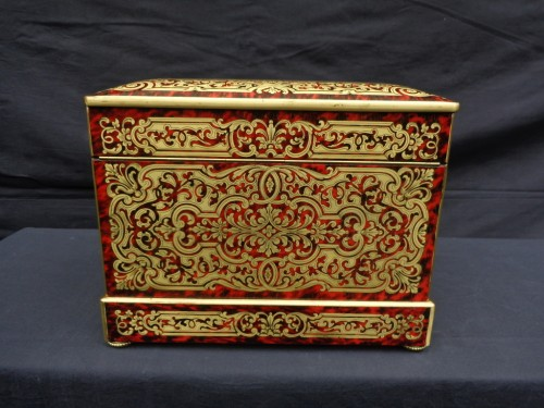 Tantalus Box stamped Th Année in Boulle marquetry Napoleon III period 19th - Decorative Objects Style Napoléon III