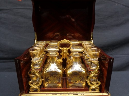 Tantalus Box stamped Th Année in Boulle marquetry Napoleon III period 19th - Napoléon III