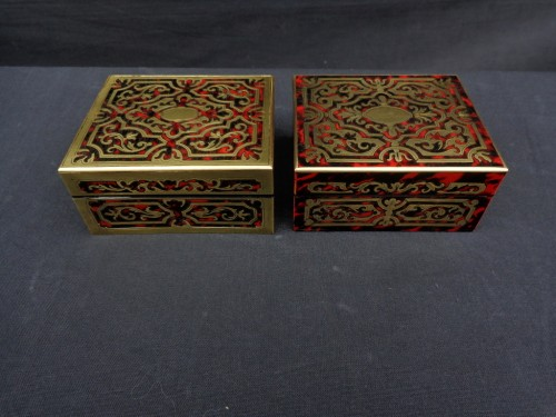 Pair of Boxes in Boulle marquetry 19th Napoleon III period - Decorative Objects Style Napoléon III