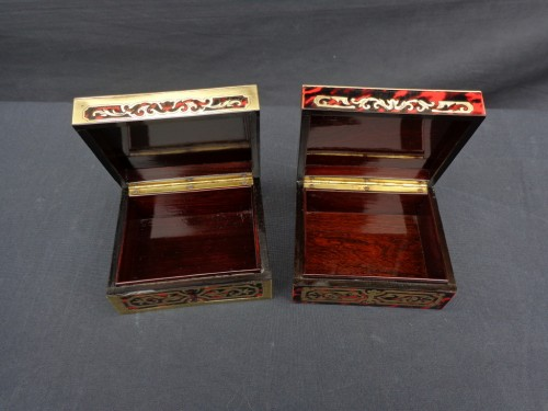 Pair of Boxes in Boulle marquetry 19th Napoleon III period -