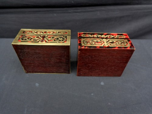 Antiquités -  Pair of Boxes in Boulle marquetry 19th Napoleon III period