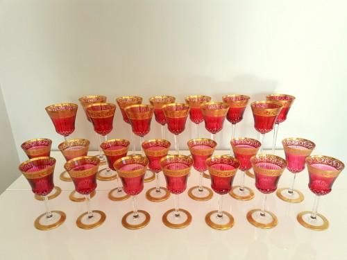 Important set Roemer 20.8cm et Bordeaux 14,2cm en Cristal de Saint Louis Thisthe Or - Glass & Crystal Style Art nouveau