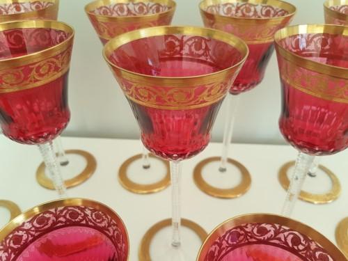 Important set Roemer 20.8cm et Bordeaux 14,2cm en Cristal de Saint Louis Thisthe Or -