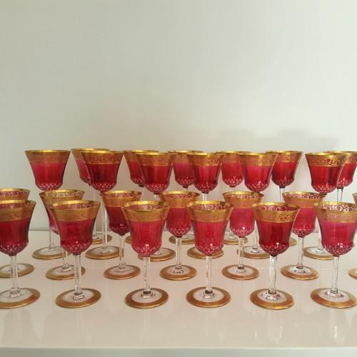20th century - Important set Roemer 20.8cm et Bordeaux 14,2cm en Cristal de Saint Louis Thisthe Or