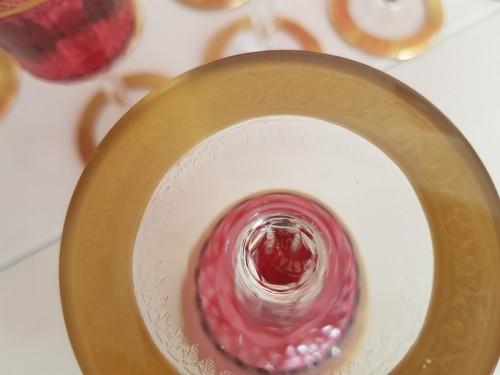 Important set Roemer 20.8cm et Bordeaux 14,2cm en Cristal de Saint Louis Thisthe Or - Art nouveau