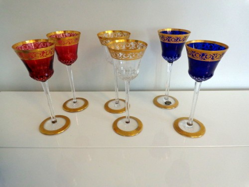 6 Glasses Hocks Roemer in crystal Saint Louis - Thistle gold - Glass & Crystal Style Art nouveau