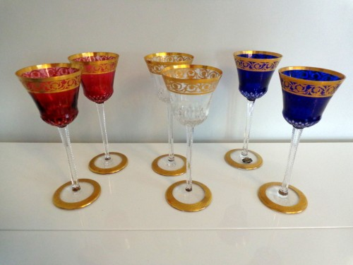 Glass & Crystal  - 6 Glasses Hocks Roemer in crystal Saint Louis - Thistle gold